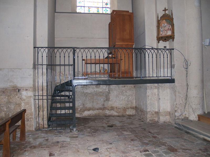 Rampe mezzanine avec portillon ferronnier