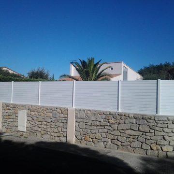 Panneau cloture thuya blanc brise vue jardin