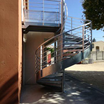 Escalier colimaçon extérieur galvanisé